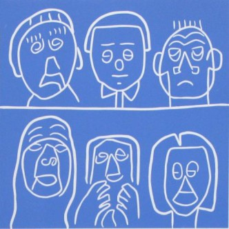 Audience - Linocut, blue ink, by Jane Bristowe