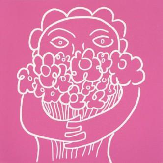 Flowers - Linocut, pink ink, by Jane Bristowe