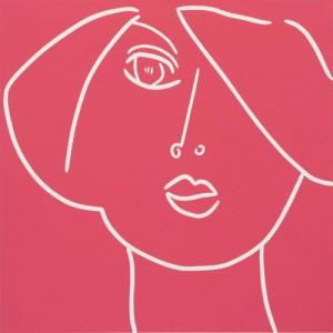 Tulip Woman - Linocut, deep pink ink, by Jane Bristowe