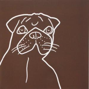 Pug Dog - Linocut, brown, by Jane Bristowe