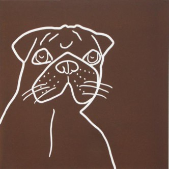 Pug Dog - Linocut, brown, by Jane Bristowe