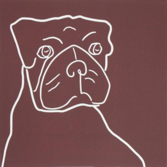 Boxer Dog - Linocut, brown, by Jane Bristowe