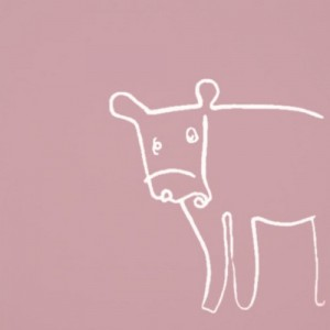 Cow - Linocut, dusty pink ink, by Jane Bristowe