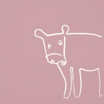 Cow - Linocut, dusty pink ink, by Jane Bristowe