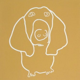 Bassett Dog - Linocut, mustard yellow ink, by Jane Bristowe