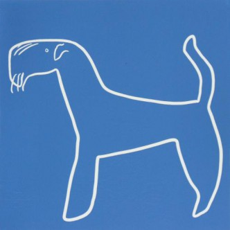 Airdale dog - Linocut, blue ink, by Jane Bristowe