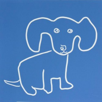 Puppy with Big Ears - Linocut, blue ink, by Jane Bristowe