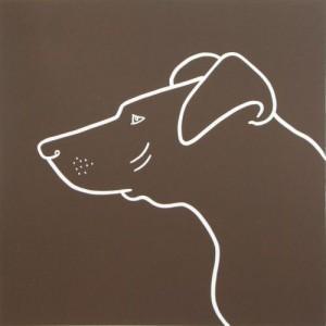 Pointer Dog - Linocut, brown, by Jane Bristowe