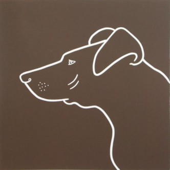 Pointer Dog - Linocut, brown, by Jane Bristowe