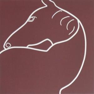 Horse Turning - Linocut, brown ink, by Jane Bristowe