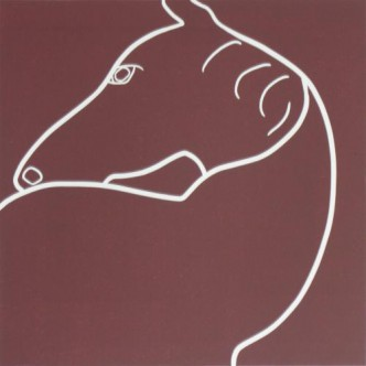 Horse Turning - Linocut, brown ink, by Jane Bristowe