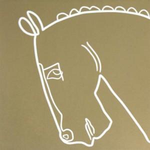 Bronze Horse - Linocut, tan ink, by Jane Bristowe
