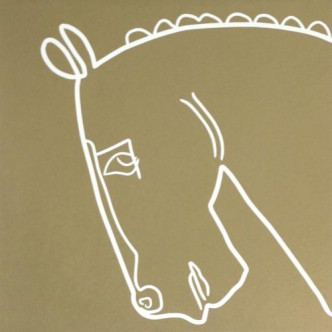 Bronze Horse - Linocut, tan ink, by Jane Bristowe