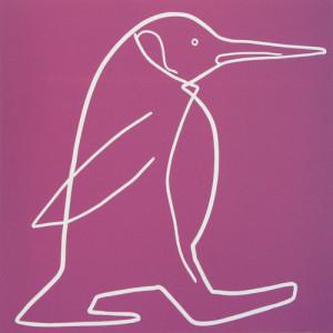 penguin 2 - Linocut, purply pink ink, by Jane Bristowe