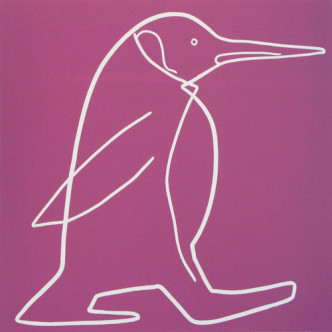 penguin 2 - Linocut, purply pink ink, by Jane Bristowe