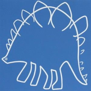 Stegosaurus - Linocut, blue ink, by Jane Bristowe