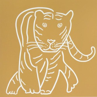 Tiger, Head On - Linocut, mustard yellow ink, by Jane Bristowe