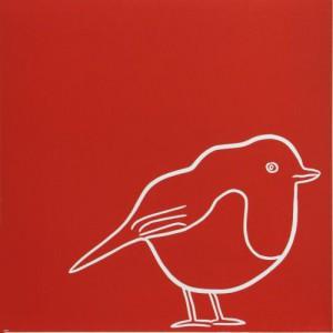 Troubador Robin - Linocut, red ink, by Jane Bristowe