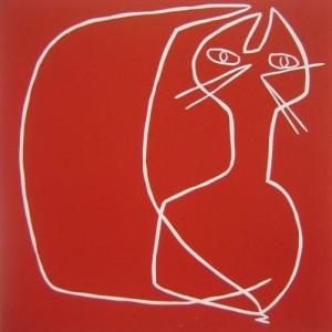 Cat 2 - Linocut, red ink, by Jane Bristowe