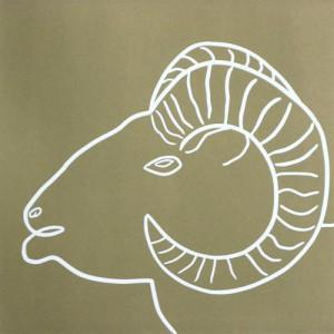 Golden Ram - Linocut, tan ink, by Jane Bristowe
