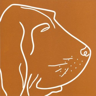 Blood Hound- Linocut, Sienna Brown ink, by Jane Bristowe