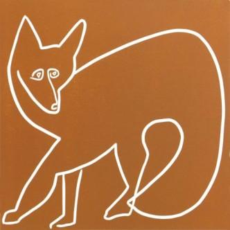 Foxy - Linocut, Sienna Brown ink, by Jane Bristowe