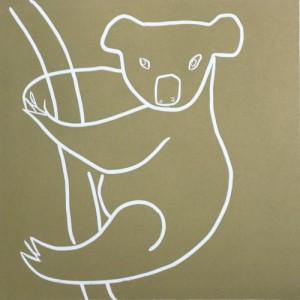 Koala - Linocut, gold ink, by Jane Bristowe