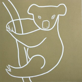 Koala - Linocut, gold ink, by Jane Bristowe