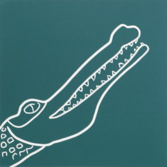 Crocodile - Linocut, blue-green ink, by Jane Bristowe