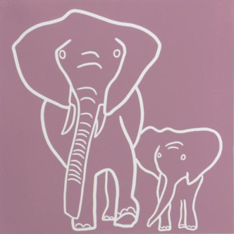 Elepants, Mother and Baby - Linocut, dusty pink ink, by Jane Bristowe