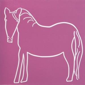 Horse - Linocut, dark pink ink, by Jane Bristowe