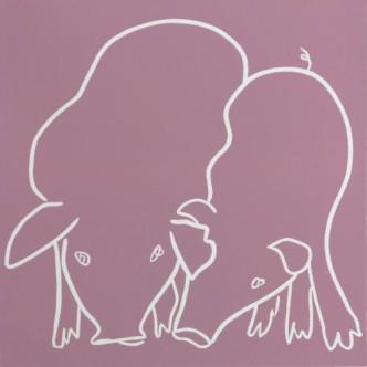 Pigs Snuffling - Linocut, dusty pink ink, by Jane Bristowe