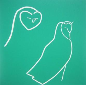 Owls - Linocut, turquoise ink, by Jane Bristowe