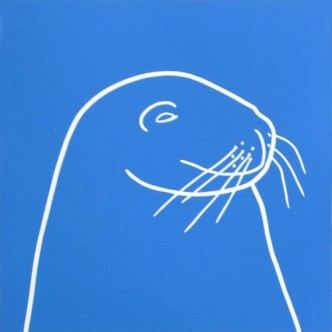 Seal 2 - Linocut, blue ink, by Jane Bristowe