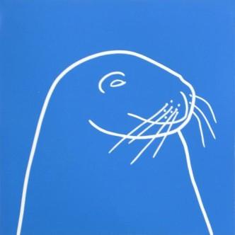 Seal 2 - Linocut, blue ink, by Jane Bristowe