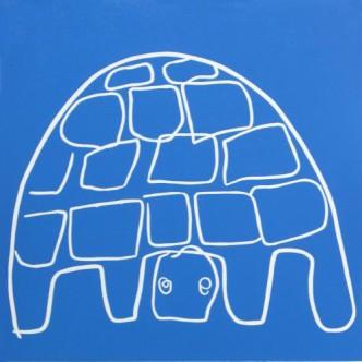 Tortoise 2- Linocut, blue ink, by Jane Bristowe Lady in Blue - Linocut, by Jane Bristowe