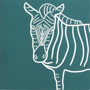 Zebra 2 - Linocut, blue-green ink, by Jane Bristowe