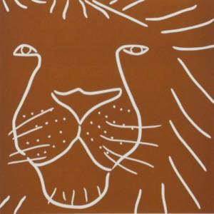 Lion Head - Linocut, brown ink, by Jane Bristowe