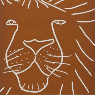 Lion Head - Linocut, brown ink, by Jane Bristowe