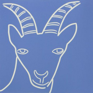 Mountain Goat - Linocut, mustard yellow ink, by Jane Bristowe
