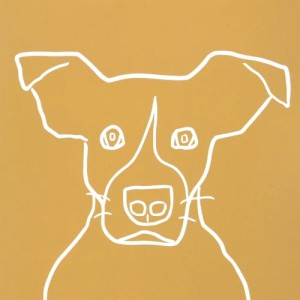 Rescue Dog - Linocut, mustard yellow ink, by Jane Bristowe