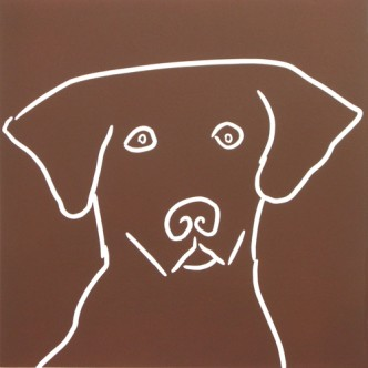 Labrador Dog - Linocut, Brown ink, by Jane Bristowe