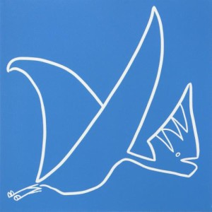 Tapejara - Linocut, blue ink, by Jane Bristowe