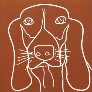 Basset 2 Hound Dog - Linocut, brown ink, by Jane Bristowe