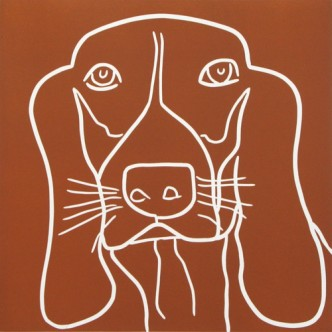 Basset 2 Hound Dog - Linocut, brown ink, by Jane Bristowe