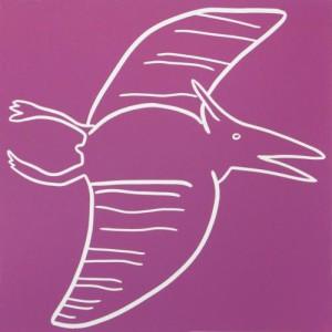 Pterosaurus - Linocut, pink ink, by Jane Bristowe