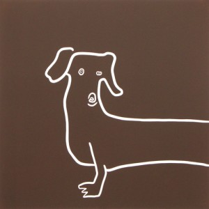 Dachshund Hound Dog - Linocut, brown ink, by Jane Bristowe