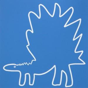Stegosaurus 2 - Linocut, blue ink, by Jane Bristowe