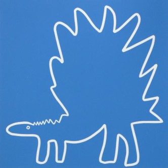 Stegosaurus 2 - Linocut, blue ink, by Jane Bristowe