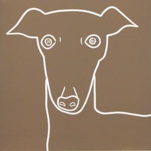Italian Greyhound Hound Dog - Linocut, light brown ink, by Jane Bristowe